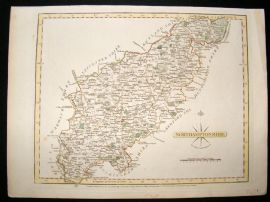 Cary 1787 Antique Hand Coloured Map. Northamptonshire, UK
